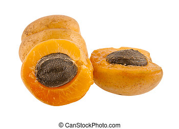 apricots isolated on white background closeup