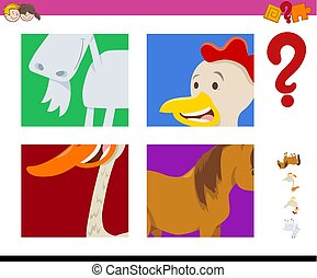 guess farm animals activity - Cartoon Illustration of...