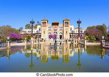 The mudejar pavilion and pond placed in the Plaza de...
