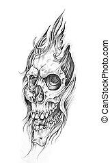Bosquejo, tatuaje, arte, cráneo