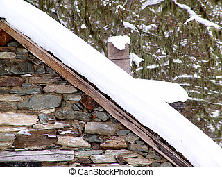 Refuge - A detail of a refuge on a snowy mountain