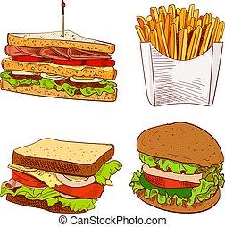 Set of fast food hand drawn VECTOR illustration on blue background. Fries, sandwich, burger.