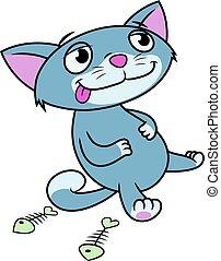 Kitten has eaten till full - Illustration of the kitten has...