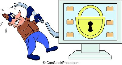 Computer thief has broken his crowbar - Illustration of the...