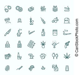 Simple Set of Drugs Related Vector Line Icons - Simple Set...