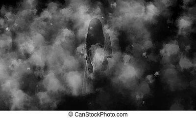 fantasma,  terror, menina, névoa, noturna