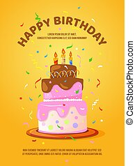 Background with birthday cake and candles. Vector illustration