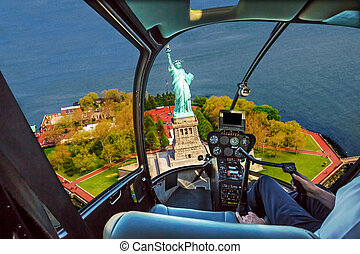 Helicopter on Liberty Island - Helicopter cockpit with pilot...