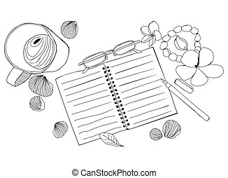 Hand drawn illustration with paper notebook, cup of coffee, glasses, flowers and shells.