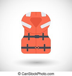 Offshore life jacket vector flat icon - Offshore life jacket...