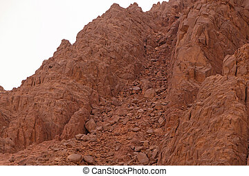 landslide in mountains on Sinai peninsula