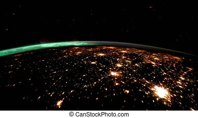 Planet Earth at night seen from the space. Elements of this...
