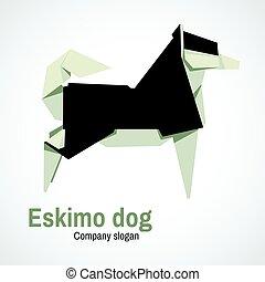 Husky dog logo origami