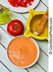 spanish salmorejo or porra, a cold tomato soup