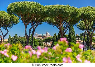 Rome Rose Garden, Italy - Altare della Patria as seen from...