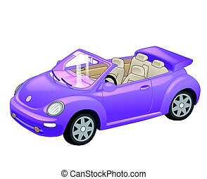 Detailed purple convertible car cartoon isolated on white background. Vector illustration