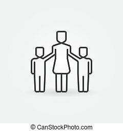 Mother with two children icon. Vector family symbol or...