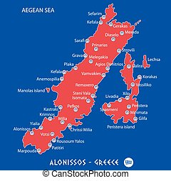 island of alonissos in greece red map illustration