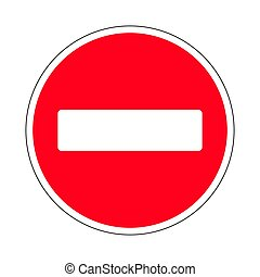 Traffic-road sign - Illustration of Prohibitory Red Circle...