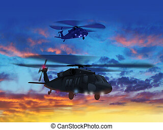 Two helicopters flying in sunset sky.