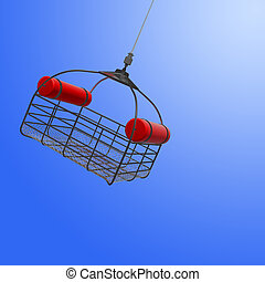 Basket rescue from helicopter in sky. - 3d illustration of...