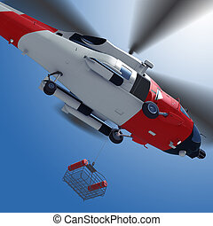 Lowering a rescue basket from helicopter in sky.