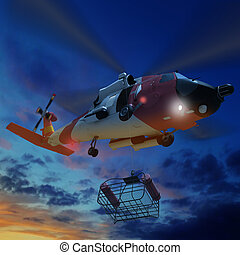 Coast guard helicopter lowering a rescue basket during for...