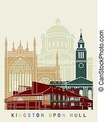 Kingston Upon Hull skyline posterin editable vector file