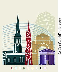 Leicester skyline poster in editable vector file