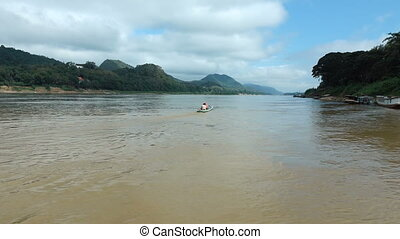View of the Mekong River in Luang Prabang, Laos.