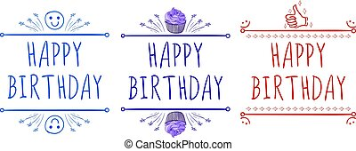 'Happy birthday' card templates with hand-drawn elements: smile, cupcake, thumb up. Purple, red and blue