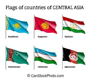 Set of flags of central Asia on sticks - Set of flags of...