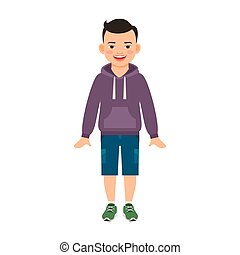 Boy in hoody isolated on white - Boy in hoody isolated...