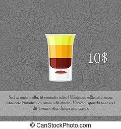 Alcoholic cocktail B-52 card template with price and...