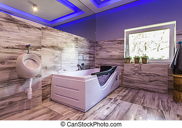 Extravagant bathroom with urinal, hot tub - Modern...