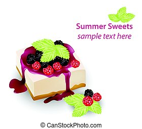 Summer sweet cheesecake with berry fruits syrop. Delicious fresh dessert Vector