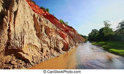 Overview Sand Steep Cliffs and Green Bank of Fairy Stream -...