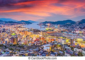 Nagasaki, Japan Twilight skyline - Nagasaki, Japan skyline...