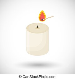 Candle and matchstick vector flat icon - Candle and...