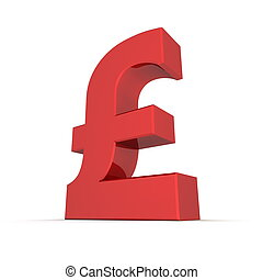 Red Shiny Pound Symbol - shiny and glossy red 3D pound...