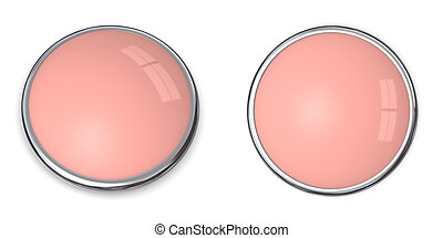3D Button Solid Salmon Pink - 3D button in solid salmon...