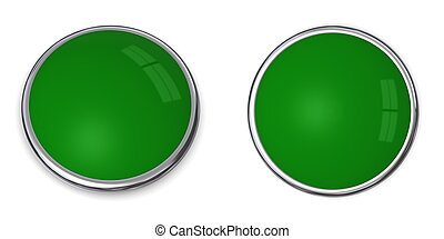 3D Button Solid Green - 3D button in solid green, front and...