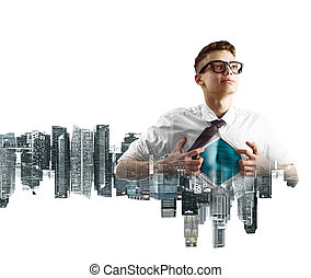 Business super hero double exposure - Business superhero...