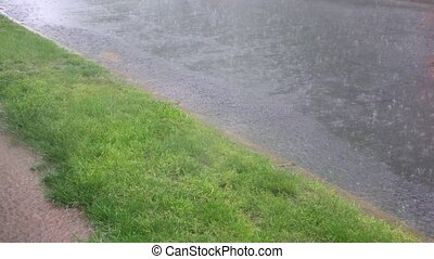 Heavy storm rain on a road drops on water surface. - Heavy...