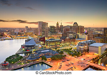 Baltimore Maryland Skyline - Baltimore, Maryland, USA inner...