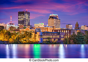 Manchester, New Hampshire, USA Skyline on the Merrimack...