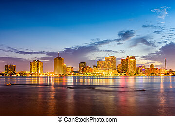 New Orleans, Louisiana, USA skyline on the Mississippi...