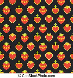 Sacred heart vector seamless pattern