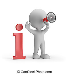 3D person gives information - 3D person with loudspeaker...