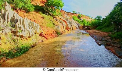 Tropical Fairy Stream Landscape with Sunny and Shady Banks -...